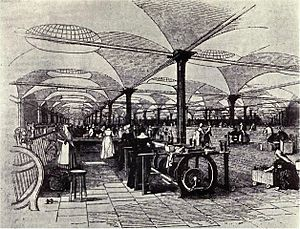 Marshall's flax-mill, Holbeck, Leeds, interior...