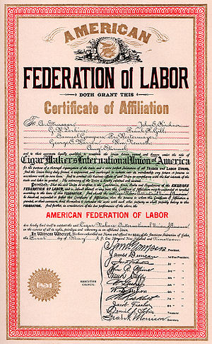 English: American Federation of Labor charter ...